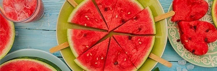 Cut watermelon on a plate